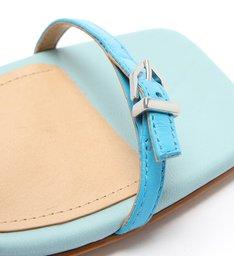 Sandália Salto Baixo Couro Colorida Azul e Rosa