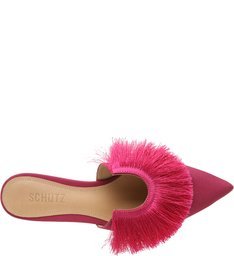 Flat Mule Fringes Pink