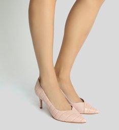 Scarpin Mid Heel Croco Rose
