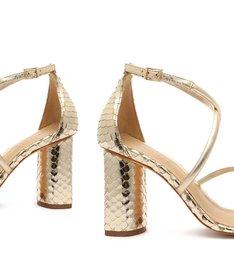 Sandália Salto Bloco Snake Dourada