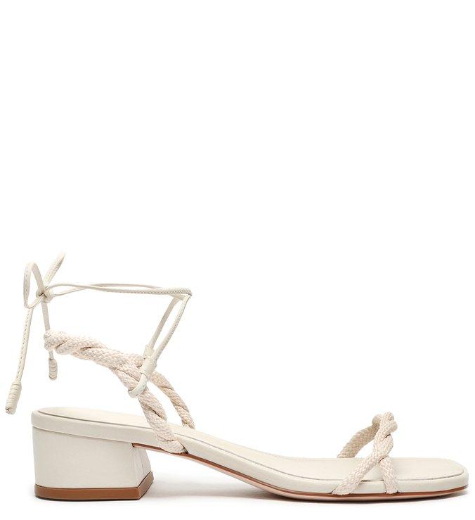 Sandália Block Heel Braid White