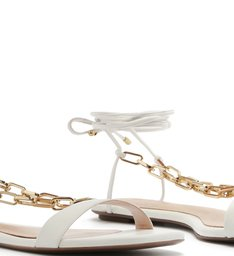 Flat Lace-Up Fun Chain White