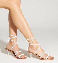 Sandália Mid Heel Strings White