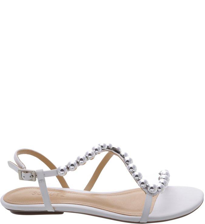 Sandália Rasteira Curves Metallic Pearls White | Schutz