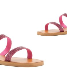 SLIDE DOUBLE STRAP STRASS PINK