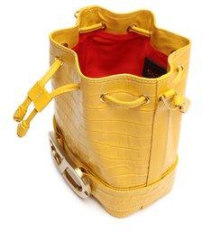 Bolsa Tiracolo Bucket Eloise Couro Croco Amarela