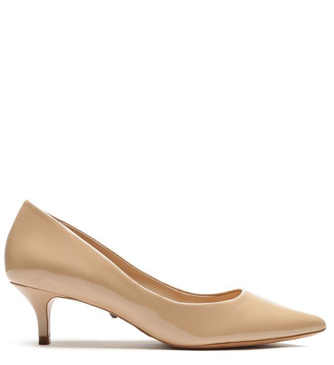 Sapato Scarpin Verniz Bege
