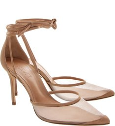 Scarpin Lace-Up Tela Nude