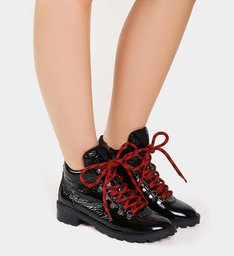 Short Boot Sola Tratorada Black Verniz