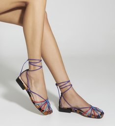 Flat Strings Lace-Up Cage Zebra Color