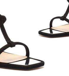 Sandália Mule Salto Anabela Espelhado Preta