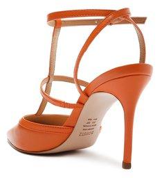 Sapato Scarpin Couro Tiras Laranja