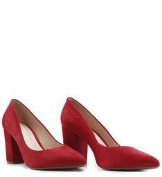 Scarpin Block Heel Nobuck Red