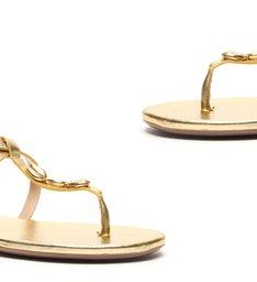 Sandália Rasteira Glam Gold