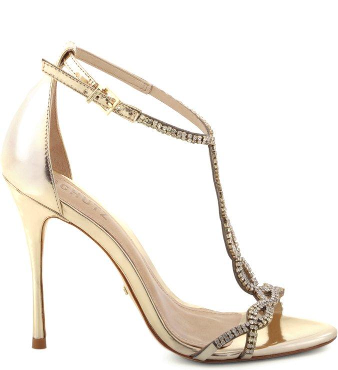 Sandália Cristais Glam Platina Ouro