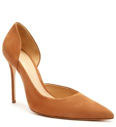 Sapato Scarpin Nobuck Recortes Marrom