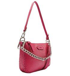 Bolsa Tiracolo Pequena Emmy Couro Snake Pink