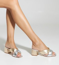 Mule Block Heel Metallic Mix