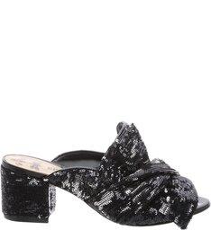Mule Block Heel Maxi Knote Black Silver