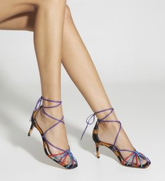 Sandália Mid Heel Lace-Up Zebra & Color