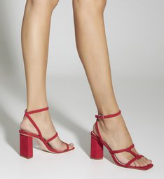 Sandália Strings Bold Heel Nobuck Red