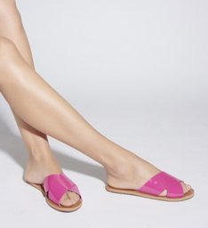FLAT SLIDE CROSS VERNIZ PINK