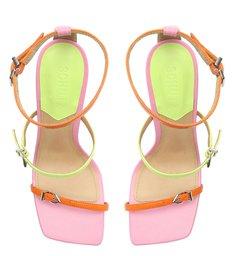 Sandália Salto Alto Taça Couro Colorida Neon e Pink