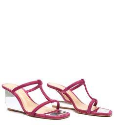 Sandália Mule Salto Anabela Espelhado Rosa