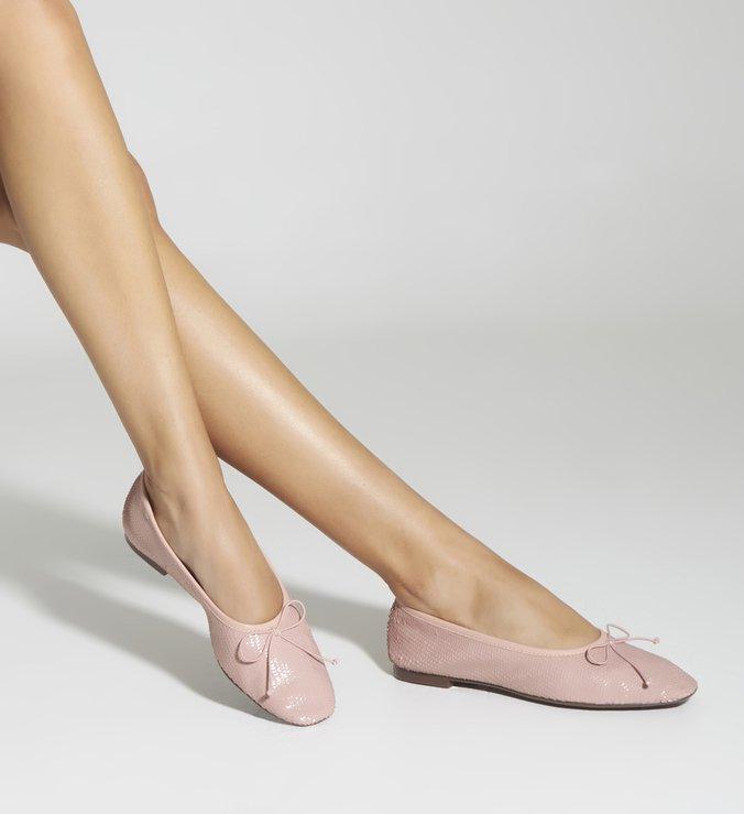 Sapatilha Ballerina Snake Paetê Rose
