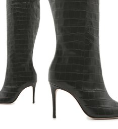 Bota Maryana Over The Knee Croco Black