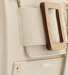 SATCHEL BAG BUCKLE WOOD WHITE