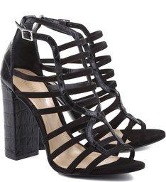 Sandália Croco Block Heel Black