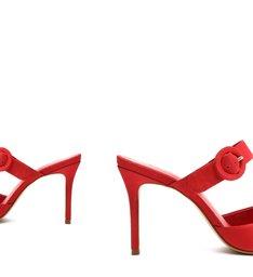 Sapato Mule Salto Nobuck Vermelho