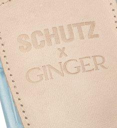 Schutz X Ginger Mule Geometric Croco Blue