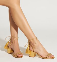 Sandália Block Heel Velvet Gold