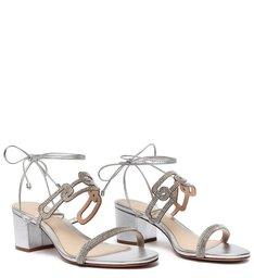 Sandália Block Heel Glam Baroque Prata