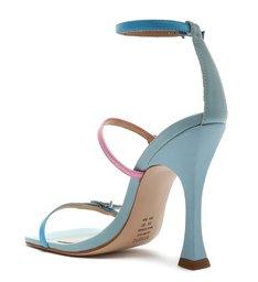 Sandália Salto Alto Taça Couro Colorida Azul e Rosa