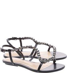 Sandália Rasteira Curves Metallic Pearls Black