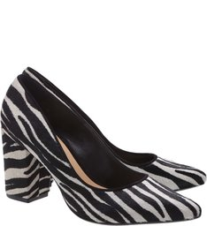 Scarpin Block Heel Zebra