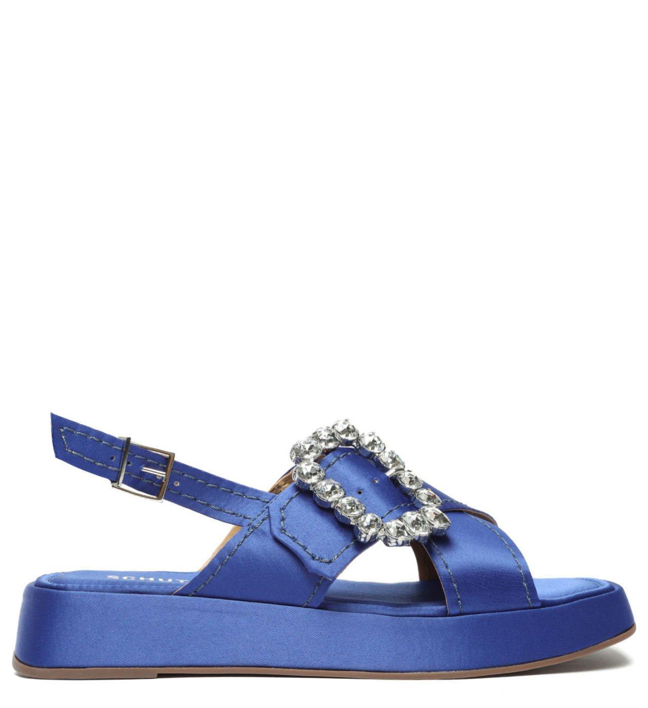 Sandália Flatform Cetim Azul | Schutz