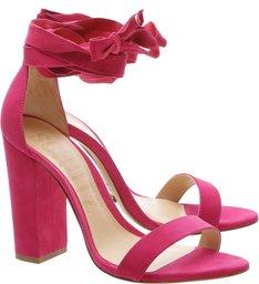 Sandália Block Heel Lace Up Bright Rose