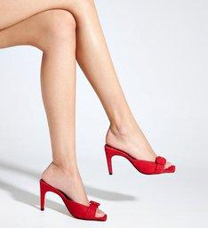 Sandália Mule Salto Camurça Onça Vermelha