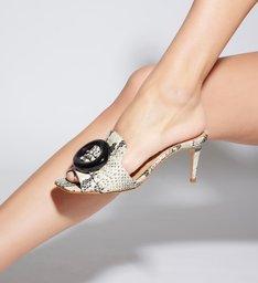 Sandália Mule Mid Heel Buckle Python
