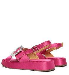 Sandália Papete Flatform Cetim Pink