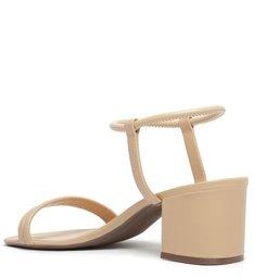 Sandália de Salto Bloco Baixo Couro Bege