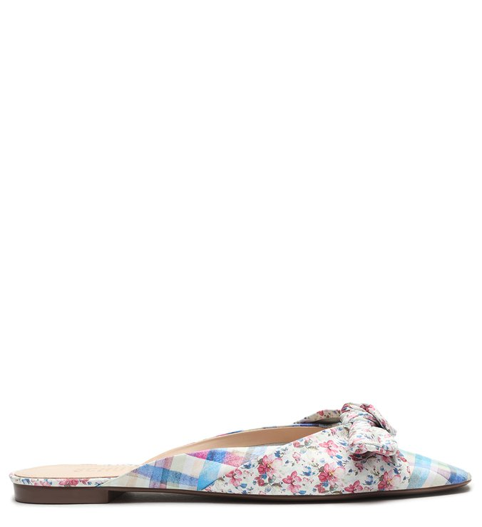 Flat Couro Mule Live In Vichy Floral