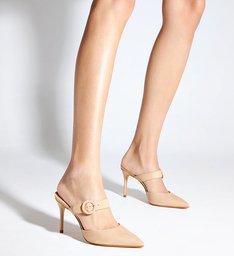 Sapato Mule Salto Fivela Nobuck Bege