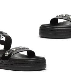 Sporty Sandal Verniz Studs Black