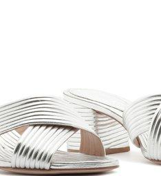 Mule Textures Block Heel Prata