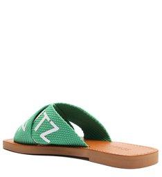 Sandália Rasteira de X Schutz Logo Verde